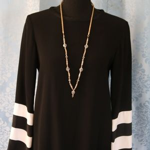 Zara Woman Black Tunic Dress with Striped sleeves